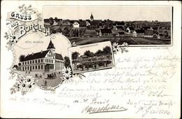 Lithographie Borgloh Hilter Am Teutoburger Wald, Hotel Masbaum, Gartenansicht, Panorama Vom Ort - Altri