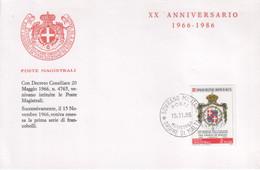 """SMOM - 1986 - Cartoncino Ricordo - """"XX Anniversario Emissione 1^ Serie Dell'Ordine"""" - Malte (Ordre De)"""