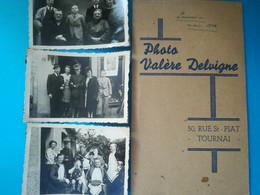 MAGASIN VALERE DELVIGNE AU 50 RUE SAINT-PIAT TOURNAI BELGIQUE FAMILLE HOMME FEMME 3 PHOTO + POCHETTE NÉGATIF V. DELVIGNE - Tournai