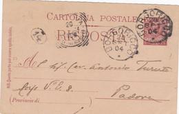 """1904 Intero Postale """"risposta"""" Da Cent 7 1/2 Con Annullo Di Borgoricco A Padova - Storia Postale"""