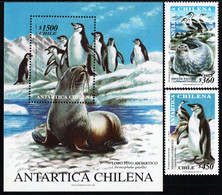 Chile - 1999 - Chilean Antarctic - Seal And Penguin - Mint Stamp Set + Souvenir Sheet - Chile