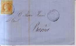 Año 1860 Edifil 52 4c  Isabel II Carta  Matasellos Mataro Barcelona Membrete  Cayetano Marfa De Mataro - Briefe U. Dokumente
