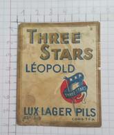 ETIQUETTE  BRASSERIE LEOPOLD BRUXELLES THREE STARS LUX LAGER PILS - Beer