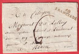 MARQUE REVOLUTIONNAIRE 60 FRANCIADE ST DENIS SEINE 1797 SUR LETTRE REUTILISE FRANCHISE MINISTRE DE LA GUERRE INDICE 16 - 1801-1848: Precursors XIX