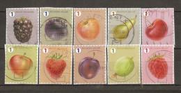 Belgique 2018 - Fruits - Série Complète De 10 Timbres° Sur Fragments - Grosse Dentelure - Pomme - Cerise - Fraise - Mûre - Unclassified