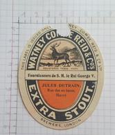 ETIQUETTE  BREWERS LONDON WATNEY COMBE REID & Co's EXTRA STOUT JULES DETRAIN  HAVRE - Beer
