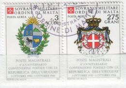 SMOM - 1984 Usato - AEREA Convenzione Postale Con L' Uruguay S. Cpl 2v Uniti (rif. A9/A10 Cat. Unificato) - Malte (Ordre De)