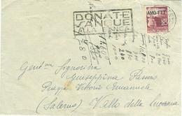 """DEMOCRATICA £.20 AMG-FTT.-1951-TIMBRO POSTE TRIESTE TARGHETTA""""DONATE SANGUE ALLA BANCA"""",VALLE DELLA LUCANIA (SALERNO) - Marcophilia"""