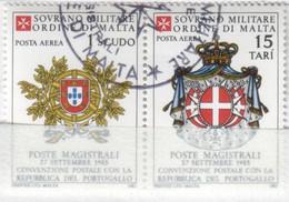 SMOM - 1985 Usato - AEREA Convenzione Postale Con Il Portogallo S. Cpl 2v Uniti (rif. A19/A20 Cat. Unificato) - Malte (Ordre De)
