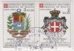 SMOM - 1986 Usato - AEREA Convenzione Postale Con Il Venezuela S. Cpl 2v Uniti (rif. A21/A22 Cat. Unificato) - Malte (Ordre De)