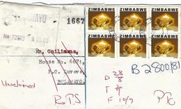 Zimbabwe 1981 Bulawayo Citrine Gem Meter Anker EMA Registered Returned RLO Cover Luveve - Zimbabwe (1980-...)