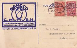 Österreich 1920, 10+40 Heller Auf Pk D.Fa. BAN&CO G:M:B:H:, Eisen-Metallwaren-Techn.A Rtikel-Berg U.Hüttenprodukte, - Brieven En Documenten