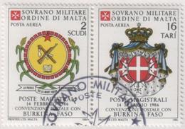 SMOM - 1986 Usato - AEREA Convenzione Postale Con Burkina Faso S. Cpl 2v Uniti (rif. A25/A26 Cat. Unificato) - Malte (Ordre De)