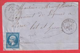 N°22 CAD TYPE 22 CASSENEUIL LOT ET GARONNE INDICE 22 + T15 STE LIVRADE DEVANT DE LETTRE FRONT COVER - 1849-1876: Klassik