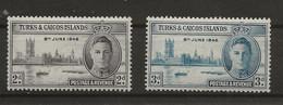 Turks & Caicos Islands, 1946, SG 207 - 208, Complete Set, Mint Hinged - Turks & Caicos