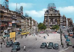 BRUXELLES / BRUSSEL - LA PLACE DE BROUCKERE - FILOBUS / TRAM - AUTO - INSEGNA PUBBLICITARIA COCA COLA - OLIVETTI - Piazze