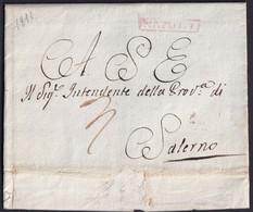 1811. NÁPOLES A SALERNO. MARCA NAPOLI RECUADRADA TINTA ROJO AGUADO. ANOTACIÓN DE PORTEO. MUY BONITA. - 1. ...-1850 Prephilately