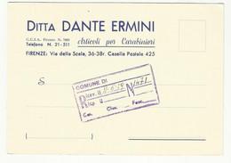 CARTOLINA COMMERCIALE DITTA DANTE ERMINI FIRENZE 1959 ARTICOLI PER CARABINIERI - Autres