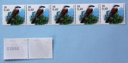 Pie Gr. 16F/0,40€    Timbres En Rouleau   5 Timbres + 2 Avec N°au Dos - 1985-.. Oiseaux (Buzin)