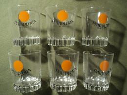 LOT DE 6 VIEUX VERRES A JUS DE FRUIT PAMPLORA ORANGE - Glasses