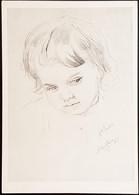 USSR 1958 IZOGIZ Child's Portrait Serov Girl Drawing Outlines - Children's Drawings