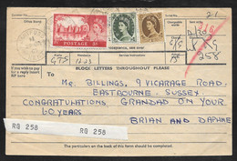 Great Britain - 1965 Telegram Receipt - Franked 6s/9d Wilding Stamps - Covers & Documents