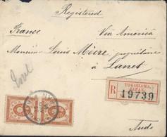 Japon Recommandé YT 81 Paire + Vignette Yokohama Japan 26 AUG 96 Via America Manuscrit Arrivée Perlé Lanet France 1896 - Covers & Documents