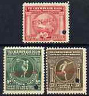 Belgium 1920 Olympic Games Set Of 3, Small Security Puncture And Overprinted SPECIMEN, U/m From ABNCo Archive - Non Classés