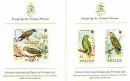 Belize 1984 Parrots Set Of 4 Imperf Proofs Mounted On Two Format International Proof Cards - Belize (1973-...)