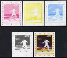 Benin 2007 Fencing - Olympics Disney - Set Of 5 Imperf Progressive Proofs - Benin - Dahomey (1960-...)