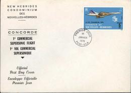 Concorde 1er Vol Commercial Supersonique Premier Jour FDC Condominium Nouvelles Hébrides YT 424 CAD Port Vila 30 1 76 - Cartas