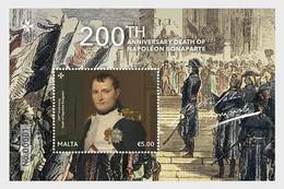 Malta 2021 Malte 200th Ann Death NAPOLEON Bonaparte Flag Uniform Medal Ms1v Mnh - Malta