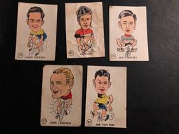5 Cards / Chromos - Maple Leaf Gum - 1950s - Cyclists - Cyclisme - Ciclismo -wielrennen - Wielrennen