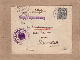 LUXEMBOURG ALLEMAGNE - FELD POST KRIEGSGEFANGENENSENDUNG - LETTRE POUR CAMP DE DARMSTADT + CONTRÖLE - 1915 - 1906 William IV