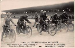 CPA 20 Nov 1927 CHAMPIONNATS Du MOTO CLUB - Photo LLORCA 76 Cours Lieutaud Marseille - Motorcycle Sport