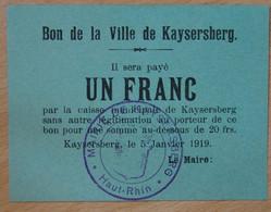 KAYSERSBERG (68 Haut Rhin) > Bon De Ville De 1 Franc 5 -01-1919 - Buoni & Necessità