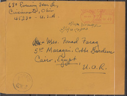 1970 AIRMAIL FROM USA OHIO TO EGYPT WITH MACHINE POSTMARK  STAMPLESS CLEAR POSTMARKS - Covers & Documents