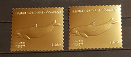 BATUM DOLPHINS 2 STAMPS GOLD PERFORED MNH - Delfines