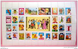 Tintin. Feuille De Timbres. 50ème Anniversaire. 1979 - Autres Objets BD