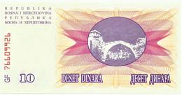BOSNIA & HERZEGOVINA - 10 DINARA - 1992 - Pick 10 - UNC. - Prefix GF - Narodna Banka Bosne I Hercegovine - Bosnia And Herzegovina