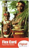 Png Papouasie Papoua New Guinea Telecarte Prepaye Prepaid Phonecard K 3 Femme Costume Collier Digicel Ut BE - Papua New Guinea