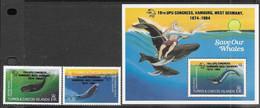 Turks & Caicos Islands  1984     Sc#637-9   UPU/whales Set / Souv Sheet   MNH   2016 Scott Value $17 - Turks & Caicos