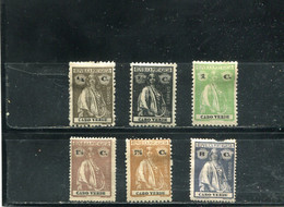 Cap Vert 1913-21 Yt 141-144 148-149 * - Cape Verde