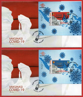INDONESIA 2021, 2X FDC SS TIME TO VACCINATE, VAKSINASI COVID-19. - Indonesia