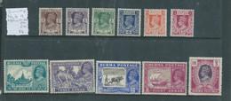 Burma, GVIR, 1946 11 Values Between 3ps - 1R (Ino 4 A) MH * - Burma (...-1947)