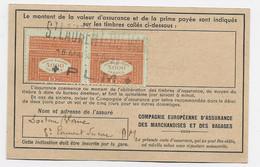 VIGNETTE PRIME ASSURANCE 15FR PAIRE SUR CARTE ST LAURENT DU VAR P.L.M. 8 MAI 1943 - Fiscale Zegels