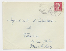 MULLER 15FR  TIMBRE A DATE LETTRE AMBULANTS SUD EST 2.5.1959 DIRECTION - Railway Post