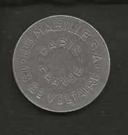 Jeton Gettone,token France  / Ets MABILLE S.A. 13 Bd VOLTAIRE PARIS - Professionals / Firms