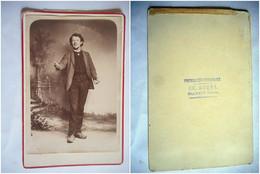 PHOTO GRAND CDV JEUNE GARCON DE LA NIEVRE  Cabinet BOREL   A CLAMECY - Old (before 1900)