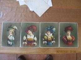4 IMAGES DE JEUNES FILLES AVEC CHAPEAUX 16,5cm/12cm - Other